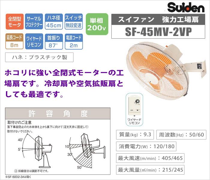 【スイデン】強力工場扇スイファン (ウォールタイプ)《 SF-45MV-2VP 》