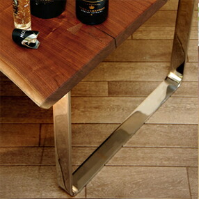 ステンレス無垢材を贅沢に使用した逸品 上品な輝きを放つ ステンレスムク・プラスロの字型 脚