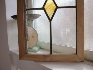 アンティーク オレンジマーブルの菱型ステンドグラス