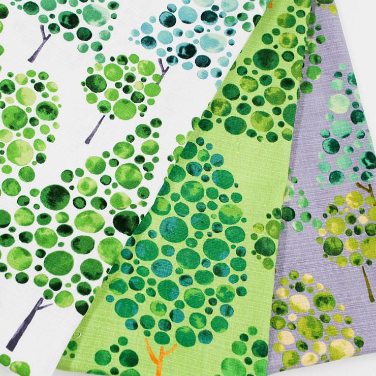 オックス シルワ 森柄 木柄 緑 グリーン 癒し グレー アイボリー 水彩 大柄 高級感 注)個数1=10cmです。50cm以上、10cm単位の販売です。生地 布幅157cm 木綿のかおり?