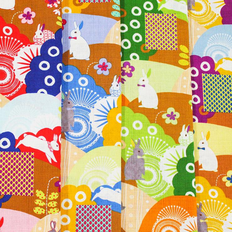 生地 4色展開 サザンクロスプリント Nao Furusawa ウサギ柄 古澤ナオ 遠山紋 原色 ラビット 卯 和柄   木綿のかおり