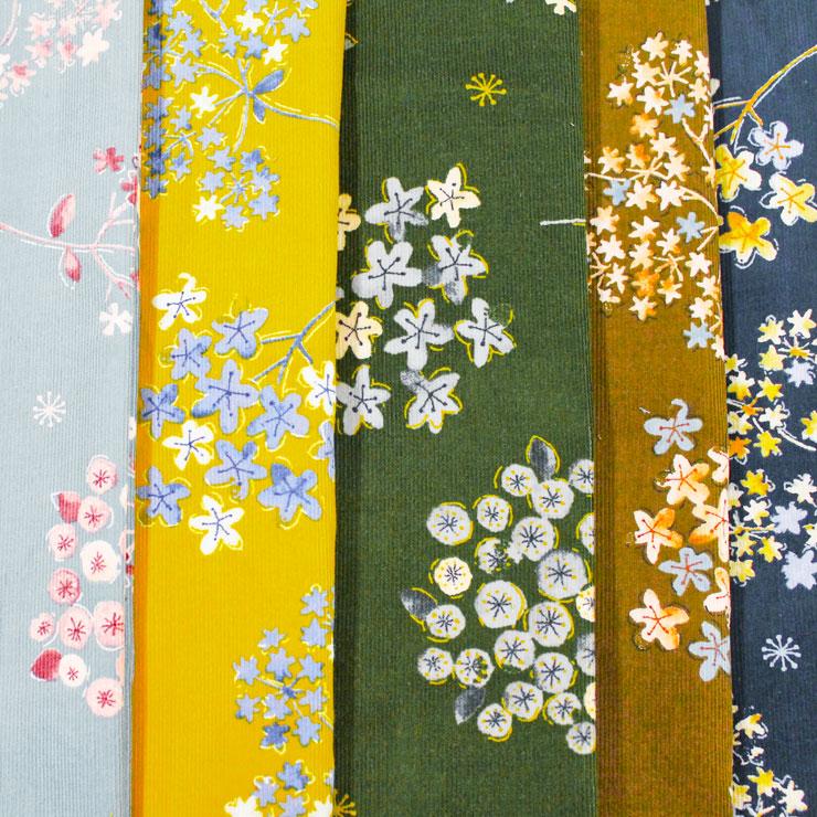 コーデュロイ コール天 起毛 植物柄 ブーケ 野草 水彩 花 スワッグ    木綿のかおり