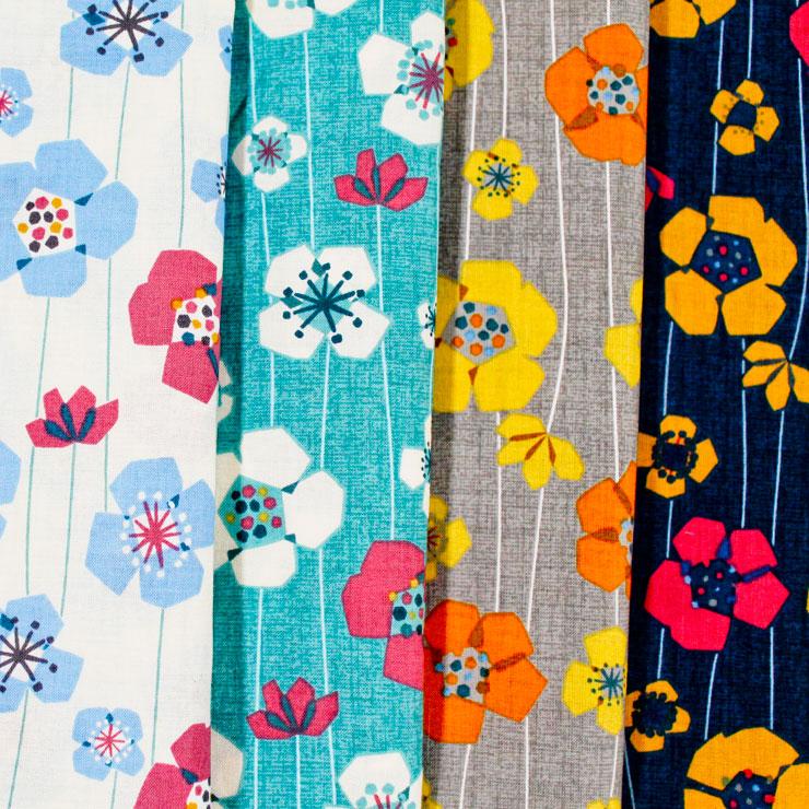 生地 4色展開 NINA 花柄 kukkia クキア(フィンランド語で花)たくさんの花と実を実らせましょう   木綿のかおり