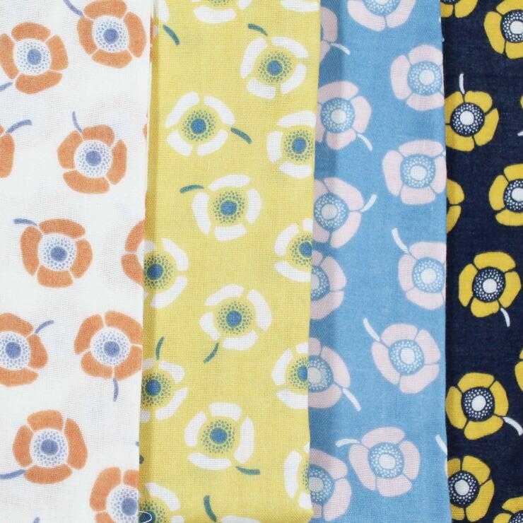 生地 4色展開 純国産 Wガーゼプリント 花柄 抗菌防臭 vuokko バオッコー(スウェーデン語でアネモネ)春の訪れを教えてくれる花です   木綿のかおり