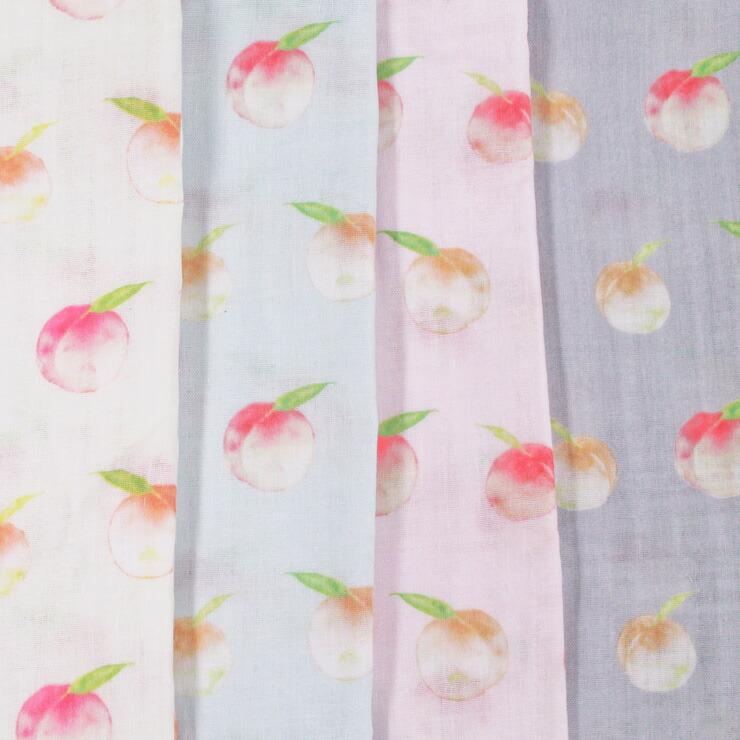 生地 4色展開 純国産 Wガーゼプリント 水彩 桃柄 ピーチ 果物 抗菌防臭    木綿のかおり