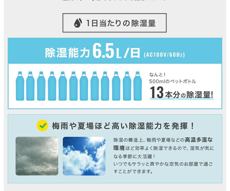 除湿能力6.5L/日 500mlペットボトル13本分