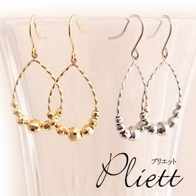 K18イエローゴールド/K14ホワイトゴールド・ミラーボールサークルピアス〜Pliett〜