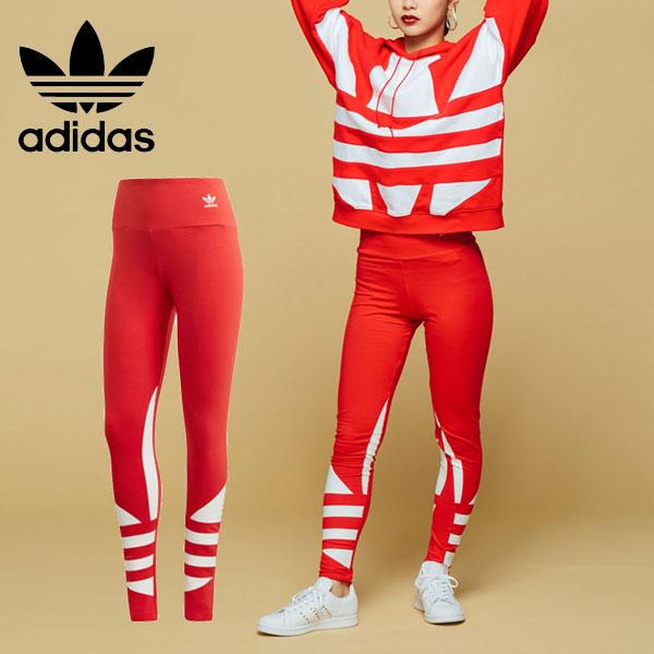 Adidas originals adidas originals mail order Adidas large logo tights Lady's bottoms underwear full length waist rubber comfort high waist stretch