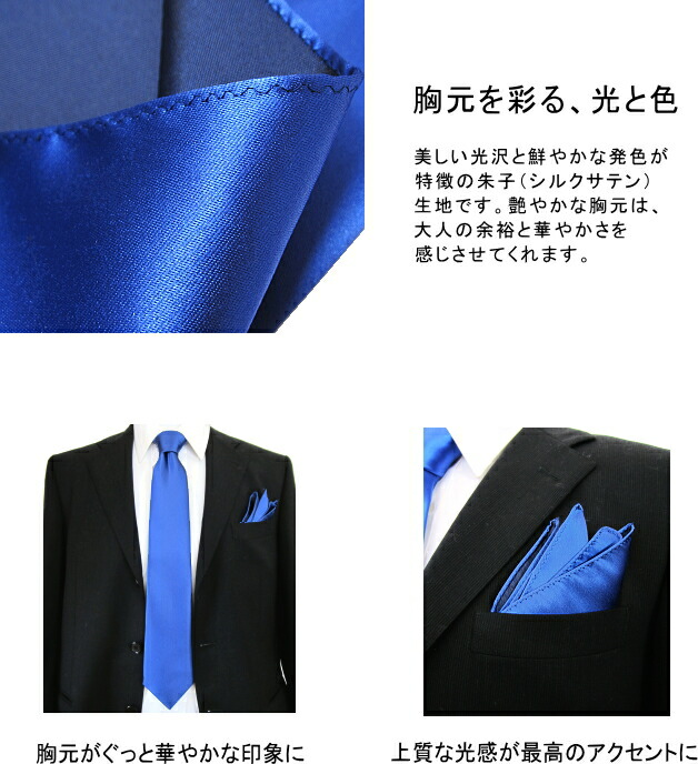【ポケットチーフ】ソリッド・朱子
