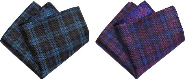 ポケットチーフ チェック 青 紫