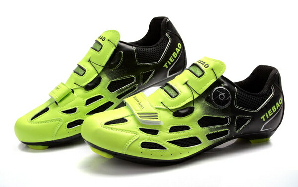 Tiebao Men Cycling Road Bike Look SPD-SL System Shoes Orange Men's Cycling Shoes