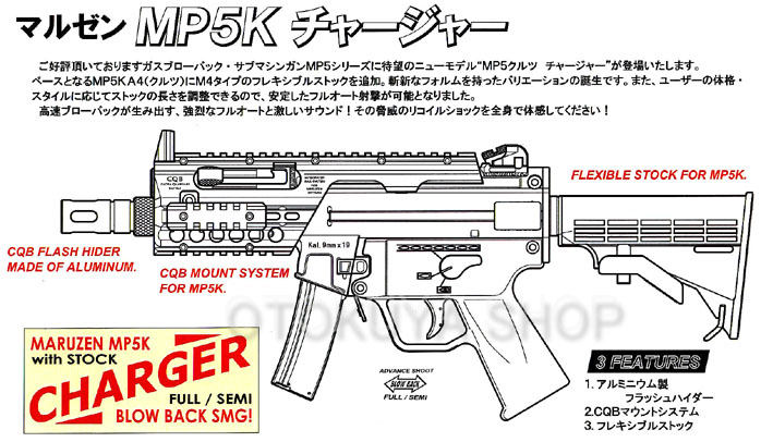 ガスガン ライフル MP5K クルツ チャージャー マルゼン