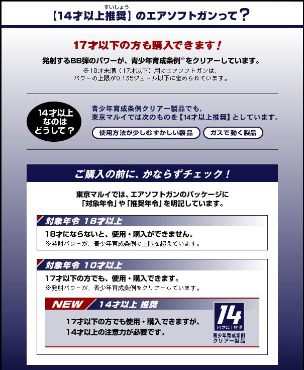 東京マルイ 14才以上 Rシリーズ ガス エアガン ガスガン 「対象年齢18才以上」18才にならないと、使用 購入ができません。「対象年齢10才以上」17才以下の方でも、使用・購入できます 「14才以上推奨」17才以下の方でも使用・購入できますが、14才以上の注意力が必要