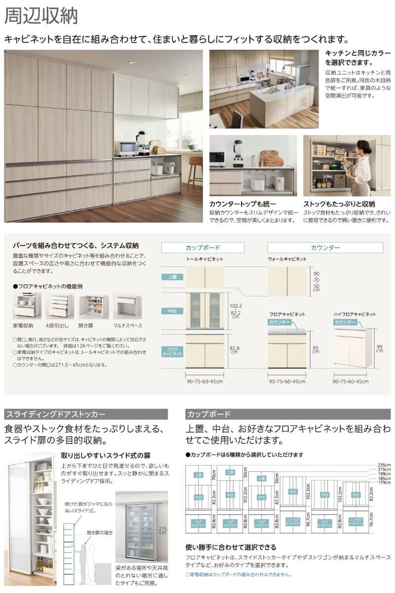 システムキッチン収納食器棚の説明