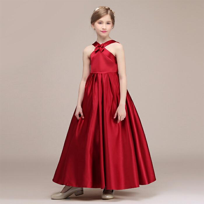 2f02758b72b29 子供ドレス 女の子 キッズ ガールズドレス ロングドレス 赤 レッド ピアノ発表会 バイオリン コンクール 結婚式 パーティー ハイ ...