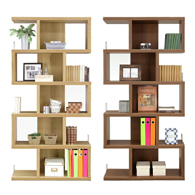 Open Rack Shelf Completed Width 90 Cm Brown Wood Modern Living Room Storage Furniture Ornament Shelves