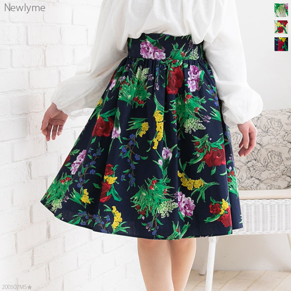 綿ブロードひざ丈花柄フレアスカート