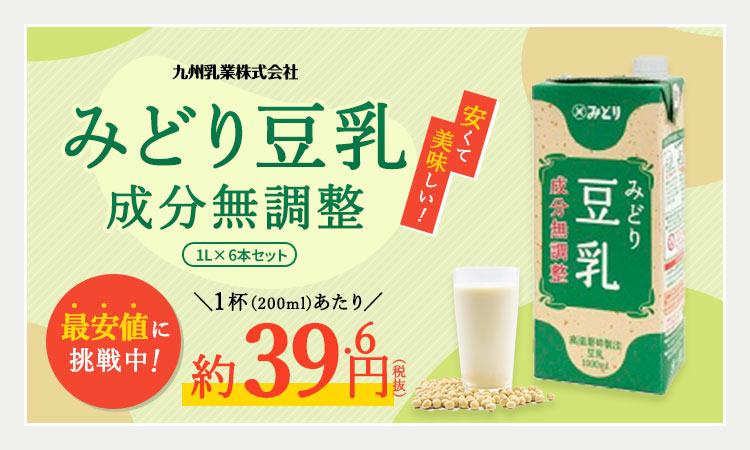 九州乳業 みどり豆乳 成分無調整豆乳 1000ml紙パック×12本[6本×2ケース]