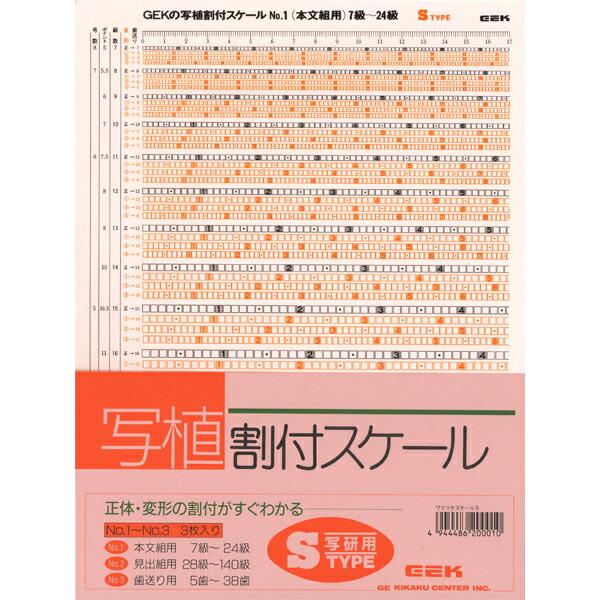 写植割付スケール Sタイプ 級数表