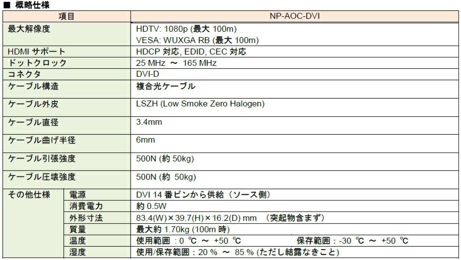 NP-AOC-DVI-xxスペック表