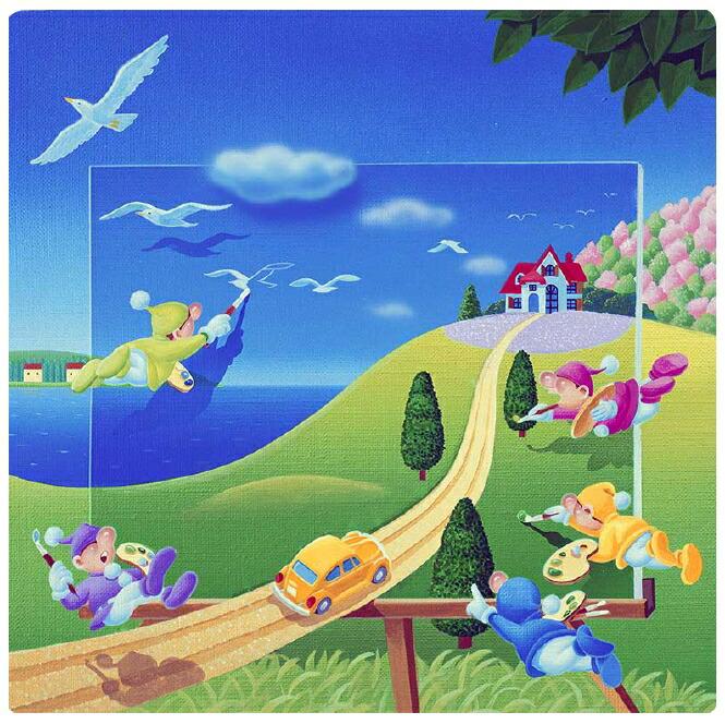 楽天市場壁掛けアート アートパネル 風景画メルヘンイラスト 妖精が
