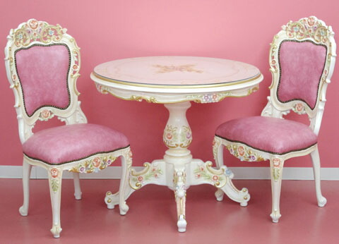 As For Table Sending On Unng Setting Service That Is A Luxurious Rococo Dining Three Points Set Of With Top Plate Gl Round