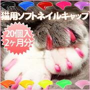 猫用ソフトネイルキャップ(ネイルカバー)20個セット(専用接着剤&説明書付き)