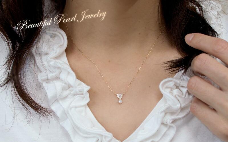 ラウンド 10石 ダイヤモンド 一粒石 ベビーパール ネックレス