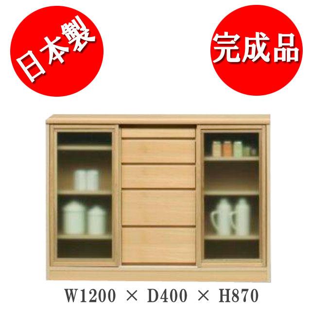 サリナ 引き戸キャビネット120-D40ガラス扉(NA)