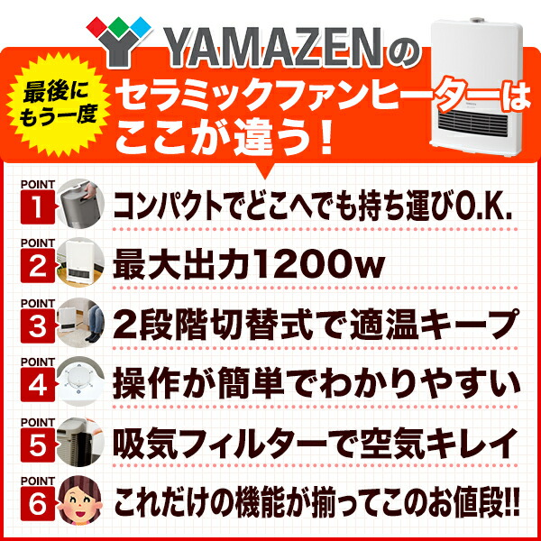 セラミックファンヒーターは ここが違う!  1.コンパクトでどこへども持ち運びO.K. 2.最大出力1200w 3.2段階切替式で適温キープ 4.操作が簡単でわかりやすい 5.吸気フィルターで空気キレイ 6.これだけの機能が揃ってこのお値段!!
