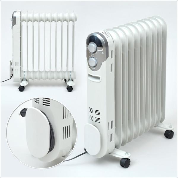 オイルラジエーターヒーター 電気ヒーター 暖房機 脱衣所 洗面所 ※電気代は27円(税込)/kW