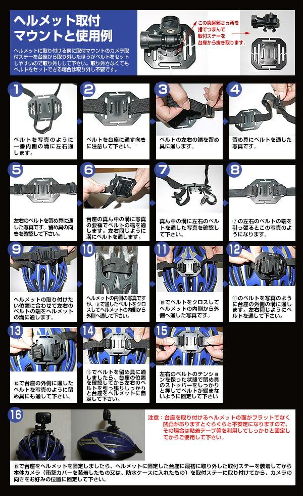 ヘルメット取付マウントと使用例