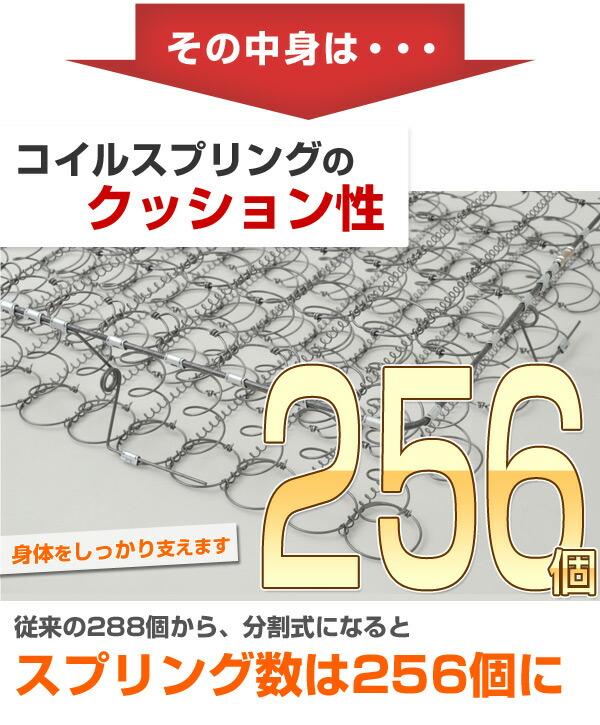 従来の288個から、分割式になるとスプリング数は256個に