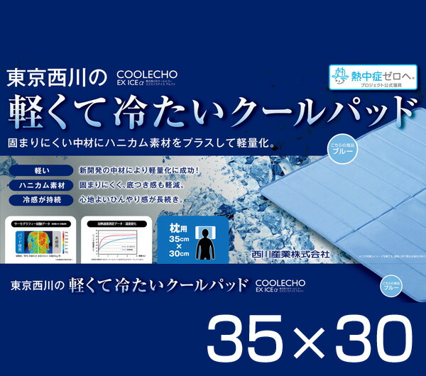 東京西川(西川産業)クールエコーエクストラアイス(COOLECHOEXICEα)軽量冷感枕パッド(35×30)PGP0504381ブルー