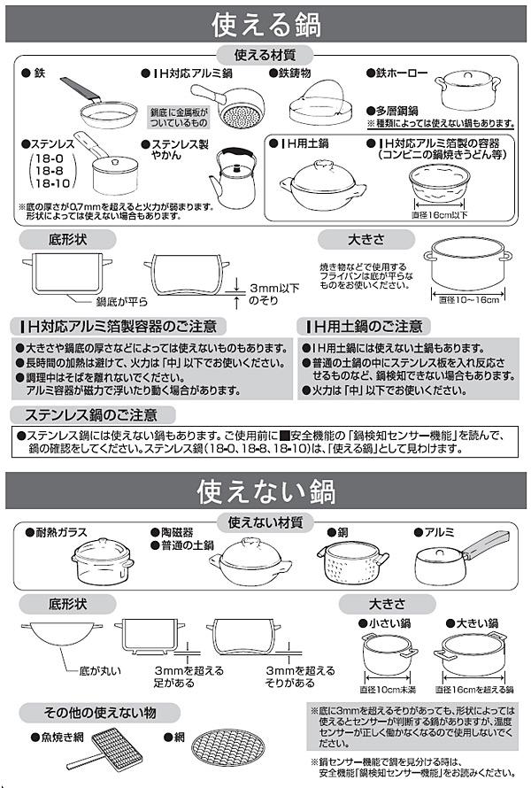 使える鍋、使えない鍋