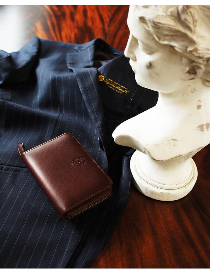 説明2|二つ折り財布 財布 本革 メンズ ラウンドファスナー ファスナー財布 姫路レザー オイルレザー レザー ジッパー 日本製