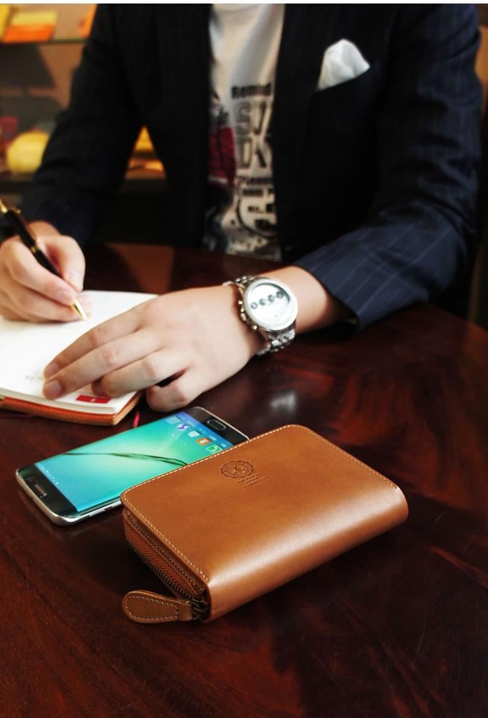 説明3|二つ折り財布 財布 本革 メンズ ラウンドファスナー ファスナー財布 姫路レザー オイルレザー レザー ジッパー 日本製