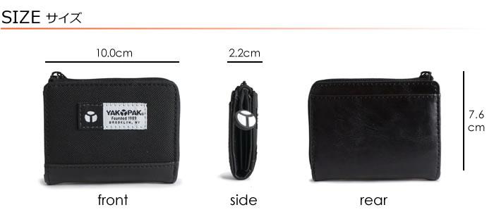 説明4|小銭入れ コインケース メンズ L字ファスナー レディース カジュアル ジッパー アコーディオン ジャバラ コンパクト 軽い 軽量 ナイロン YAKPAK ヤックパック