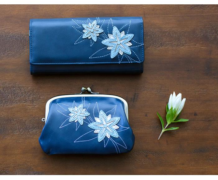 【送料無料】12ヶ月の誕生花をモチーフにしたパッチワークが美しいレディースフラップ長財布【銭入屋】花言葉・花の日・誕生日・プレゼント・ギフト・花財布・フラワー
