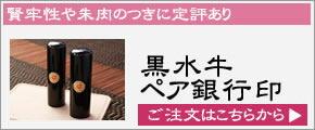 ペア銀行印セット【黒水牛】