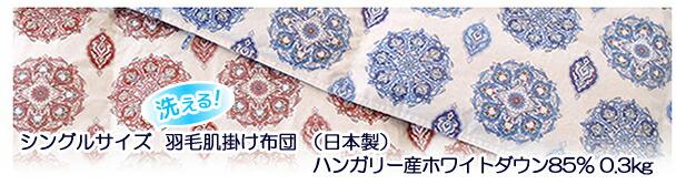 京都西川 シングルサイズ 洗える羽毛肌掛け布団 (日本製)ハンガリー産ホワイトダウン85% 0.3kg