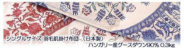 京都西川 シングルサイズ 羽毛肌掛け布団 (日本製)ハンガリー産グースダウン90% 0.3kg