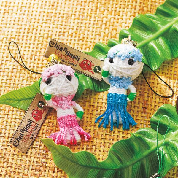 【ハワイ お土産】フラスタイル ブードゥ人形 ストラップ 2個セット【おみやげ お土産 海外 みやげ】雑貨 sa0304