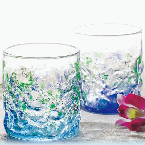 琉球ガラス村 群星ロックペアグラス【沖縄 お土産】|沖縄土産 琉球 グラス セット ペア おしゃれ 食器 n0518