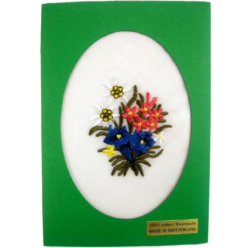 【スイス お土産】エーデルワイス刺繍ハンカチ1枚|ヨーロッパ 雑貨 スイス土産 おみやげ sa0109