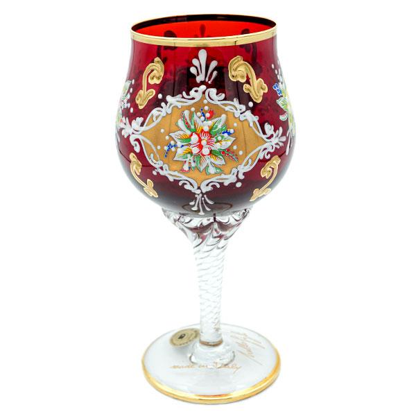 【イタリア お土産】ベネチアン ワイングラス(赤)【おみやげ お土産 イタリア 海外 みやげ】イタリア 雑貨 sa0304