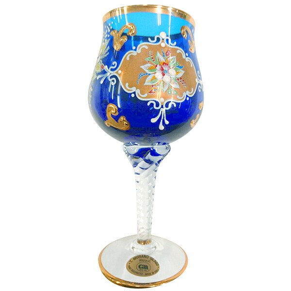【イタリア お土産】ベネチアン ワイングラス(青)【おみやげ お土産 イタリア 海外 みやげ】 sa0304