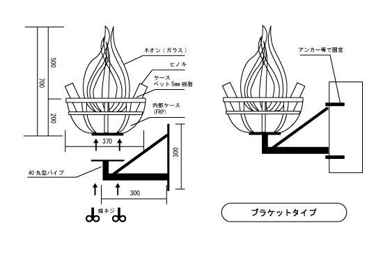 かがり火ライト フレームネオン ブラケットの図面