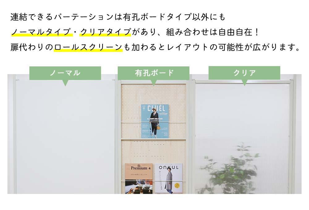 『連結間仕切りパーテーション 有孔ボードタイプ 連結用 幅87.5』 パーテーション / 1