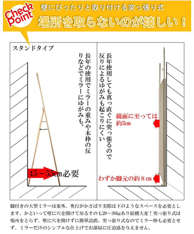 『突っ張り壁面ミラー 幅40』 金属製フレーム / 1